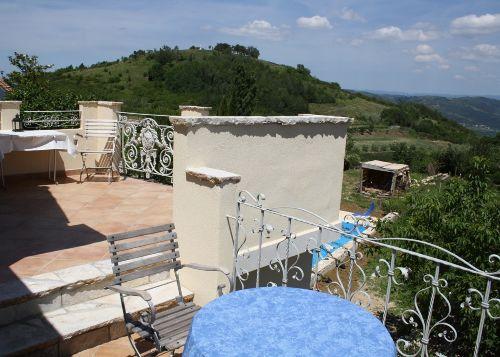Dachterrasse mit Hausberg Sveti Toma