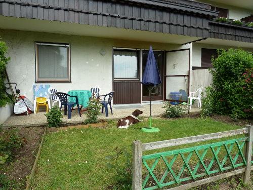Sonnige Terrasse mit Grünfläche