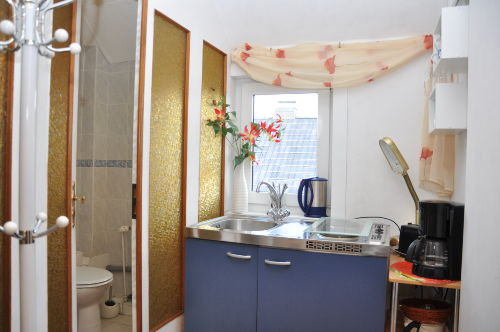 Blick in ein Appartement (Küchenzeile)