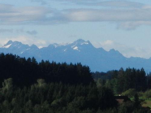 Blick auf die Alpen von unserem Haus