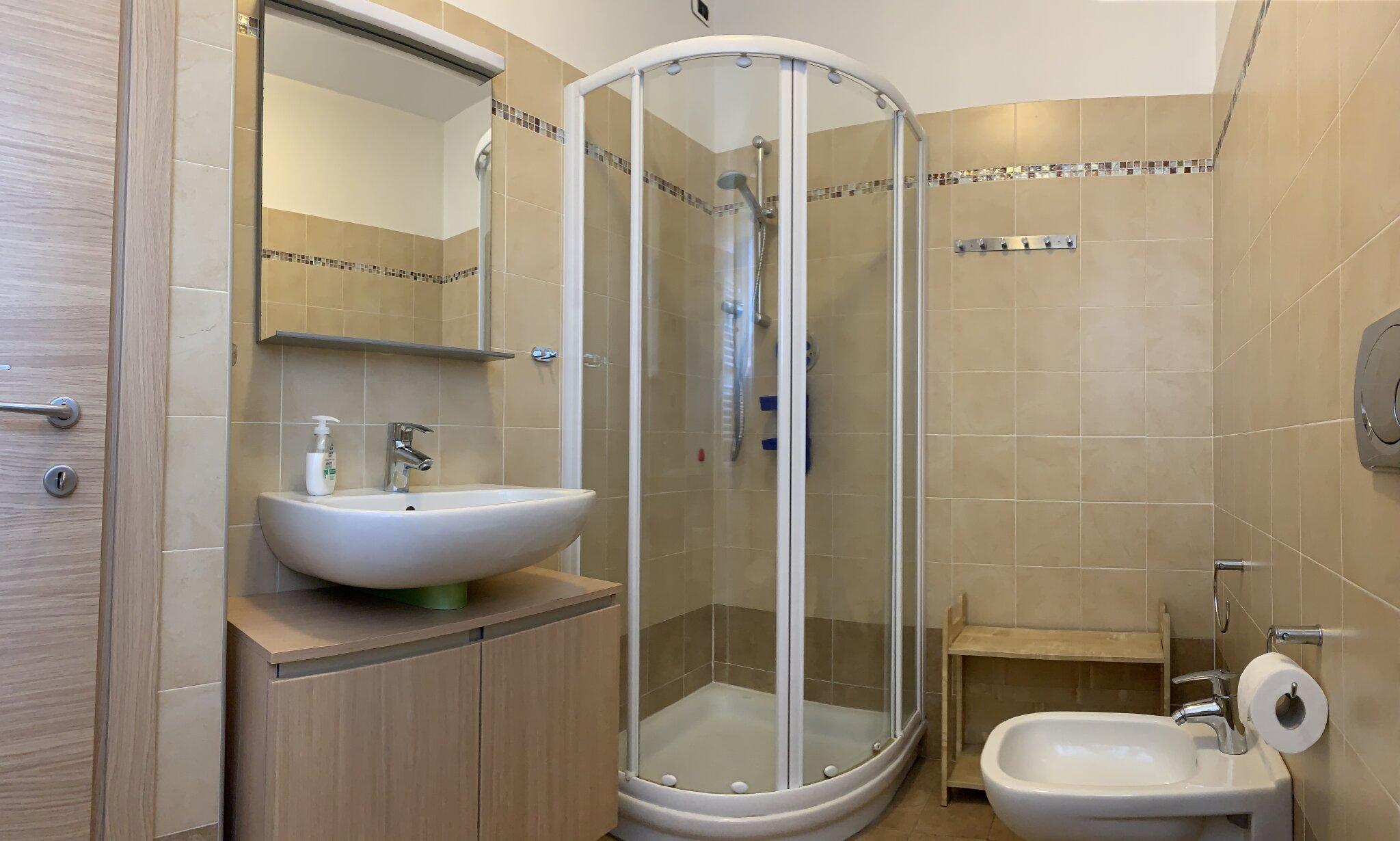 Bad mit Dusche, WC, BD u. Waschmaschine