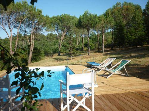 Der Pool umgeben von Gr�n