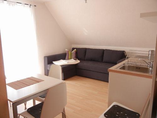 Die Wohnküche mit ausziehbarem Sofa