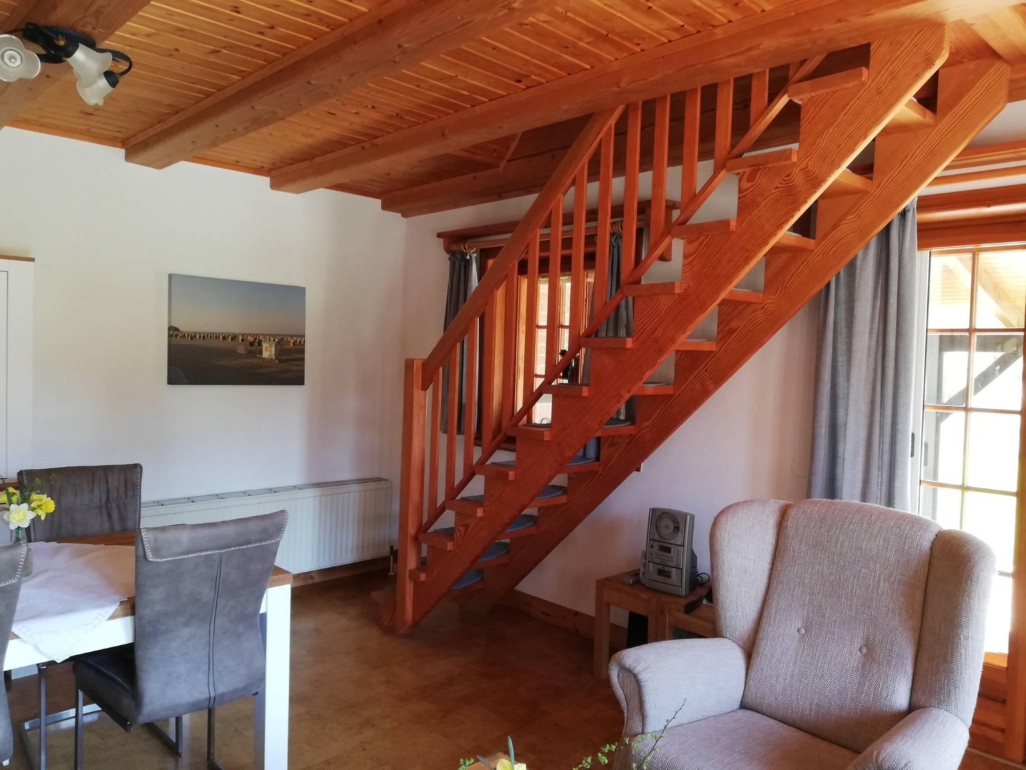 Treppe zum offenen Schlafzimmer