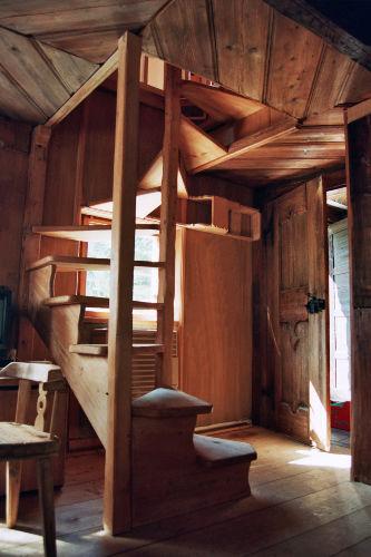 Wendeltreppe hinauf zum Schlafzimmer