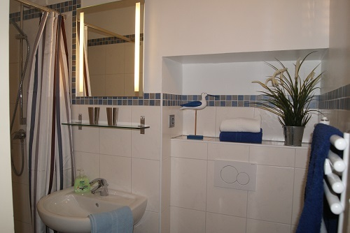 Duschbad mit WC, Hand- und Duschtücher