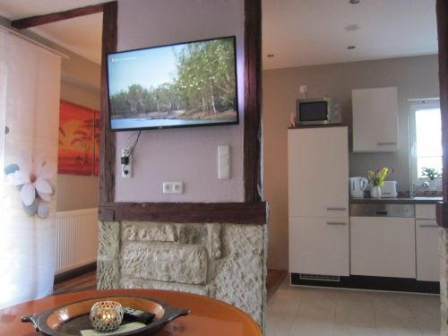 gr. TV mit Ambi-Light im Wohnraum
