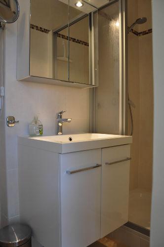 modernes Bad mit Dusche und WC.