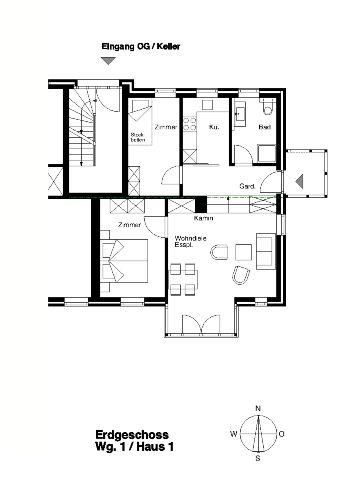 Grundriss Wohnung Nr. 1/Haus 1