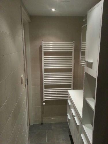 Das Badezimmer mit Dusche + Waschbeckenn