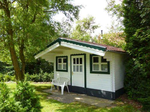 Gartenhütte mit grünem Sichtschutz