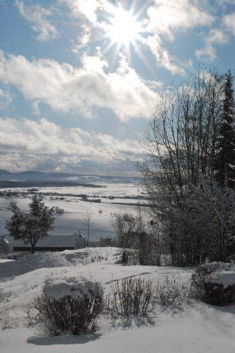 Die Aussicht von der Terrasse im Winter