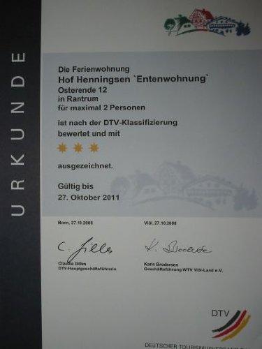 Urkunde vom Deutschen Tourismusverband