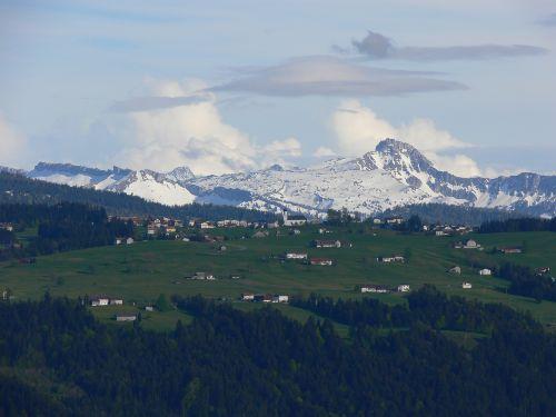 Blick nach Sulzberg, und Hohen Ifen