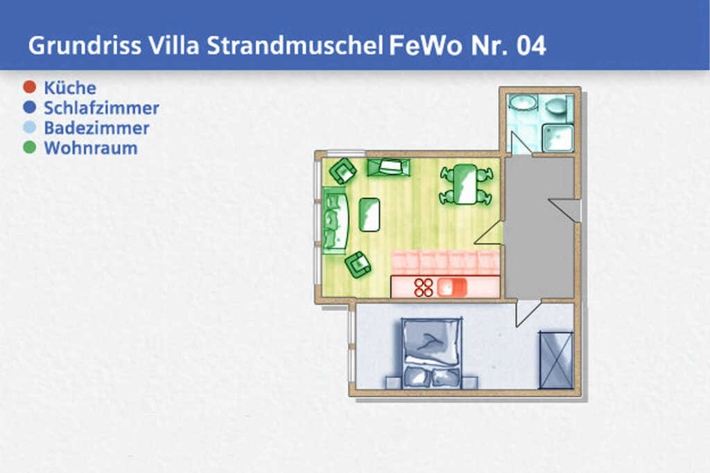Villa Strandmuschel, B 04: 40 m², 2-Raum, 3 Pers.,