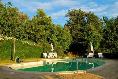 Der nierenförmige Pool mit Sonnenliegen