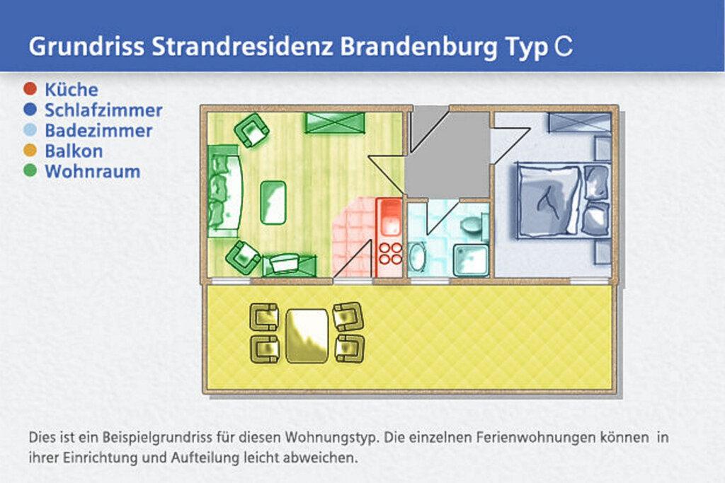 Strandresidenz Brandenburg, C 01: 43 m�, 2-Raum, 4