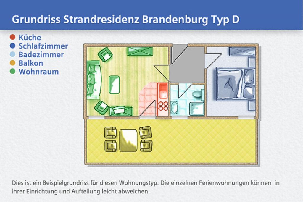 Strandresidenz Brandenburg, D 24: 41 m², 2-Raum, 3