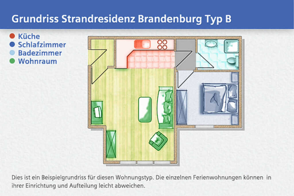 Strandresidenz Brandenburg, B 30: 35 m�, 2-Raum, 3