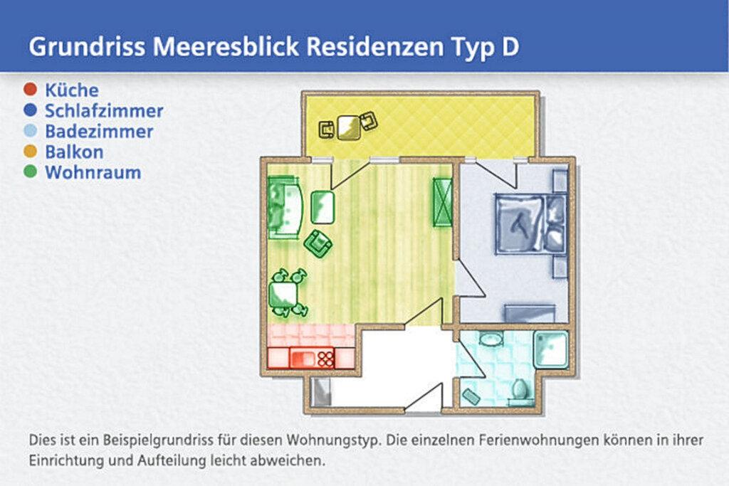 Meeresblick Residenzen, D 17: 47m�, 2-Raum, 3 Pers