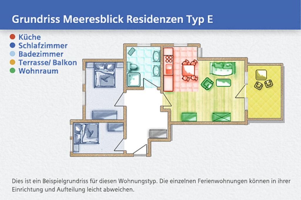 Meeresblick Residenzen, E 26: 63m�, 3-Raum, 5 Pers