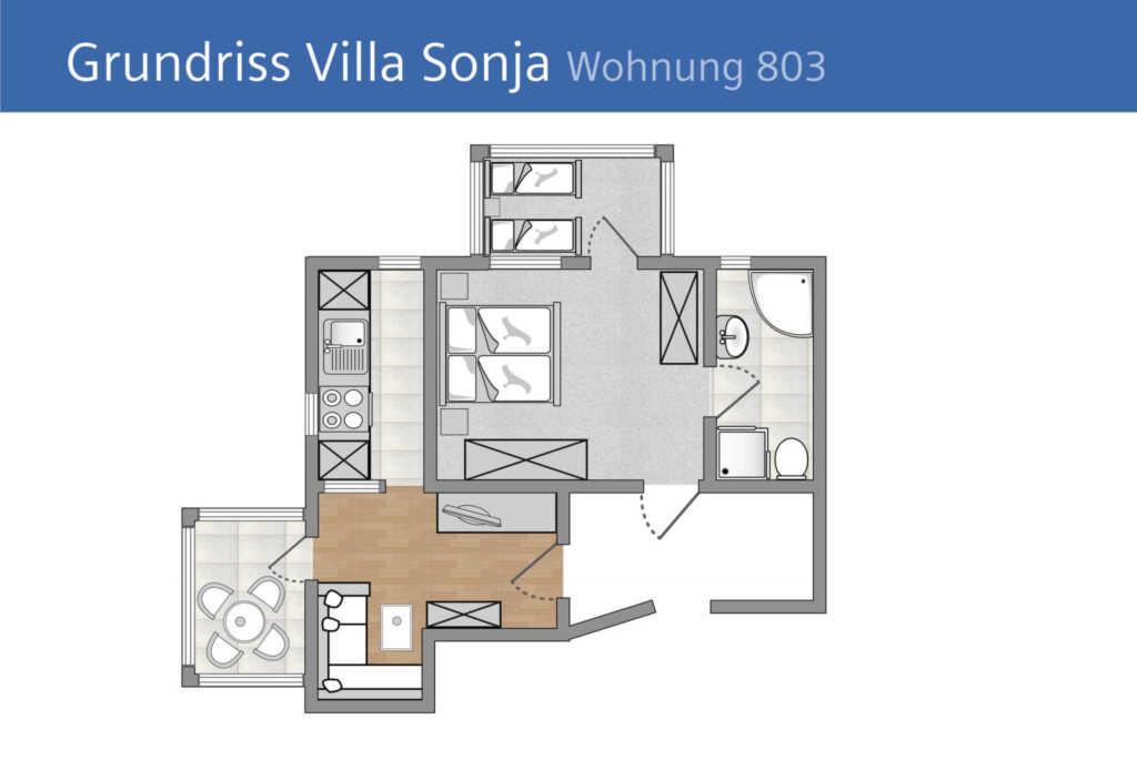 Villa Sonja, B 803: 70m², 3 Raum, 6 Pers., Veranda