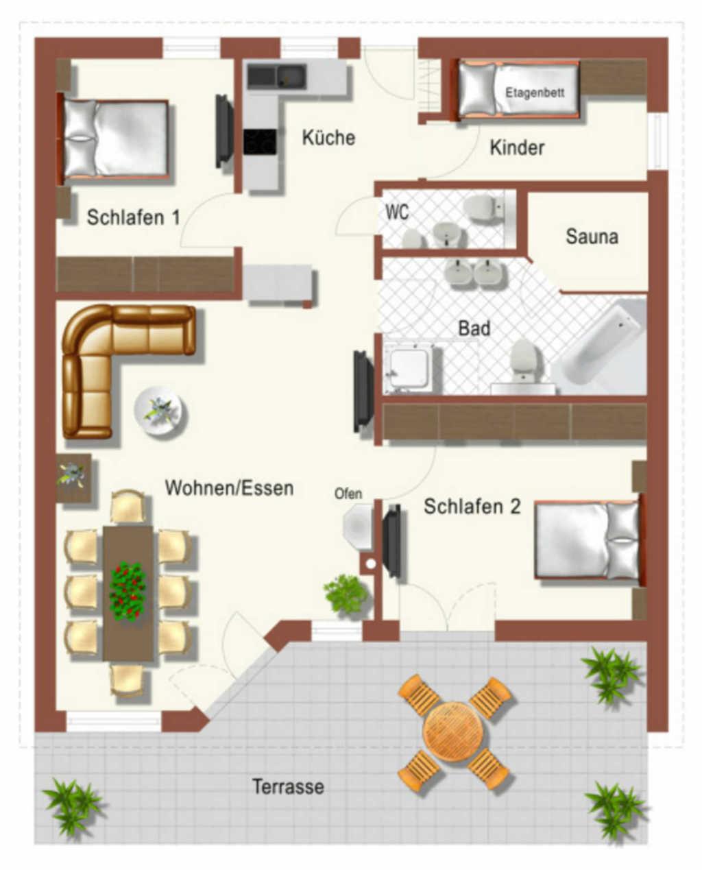 BUE - Ferienhaus in Büsum, Deik 4-Raum Terr. Spülm