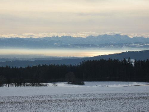 Winterzeit, Blick vom Haus