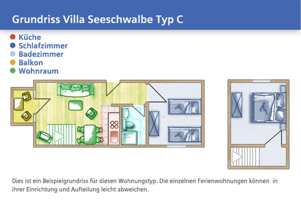 Villa Seeschwalbe, C 09: 60m², 3-Raum, 4 Pers., Ba