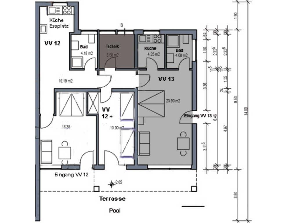 Villa Vogelsang, VV 12; 1-Raum; EG; Terrasse; 40m²