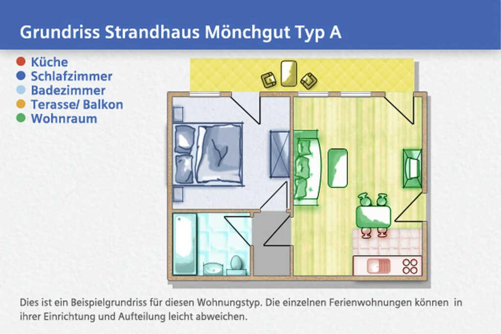Strandhaus Mönchgut, A 17: 52 m², 2-Raum, 3 Pers.,