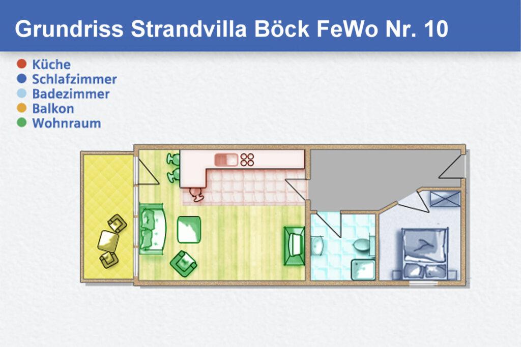 Strandvilla Böck, A 10: 50 m², 2-Raum, 3 Pers., Ba
