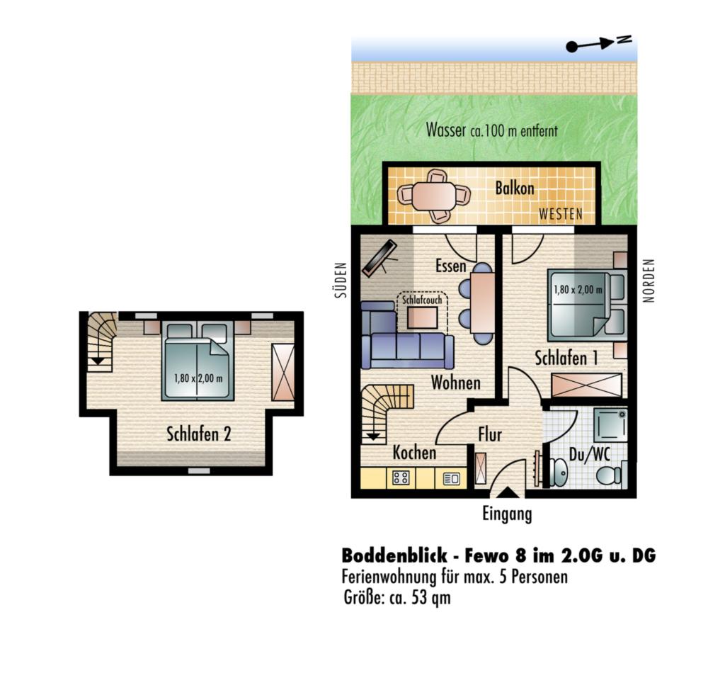 Ferienwohnung Wiek - Villa Boddenblick, Whg 8 - 2.