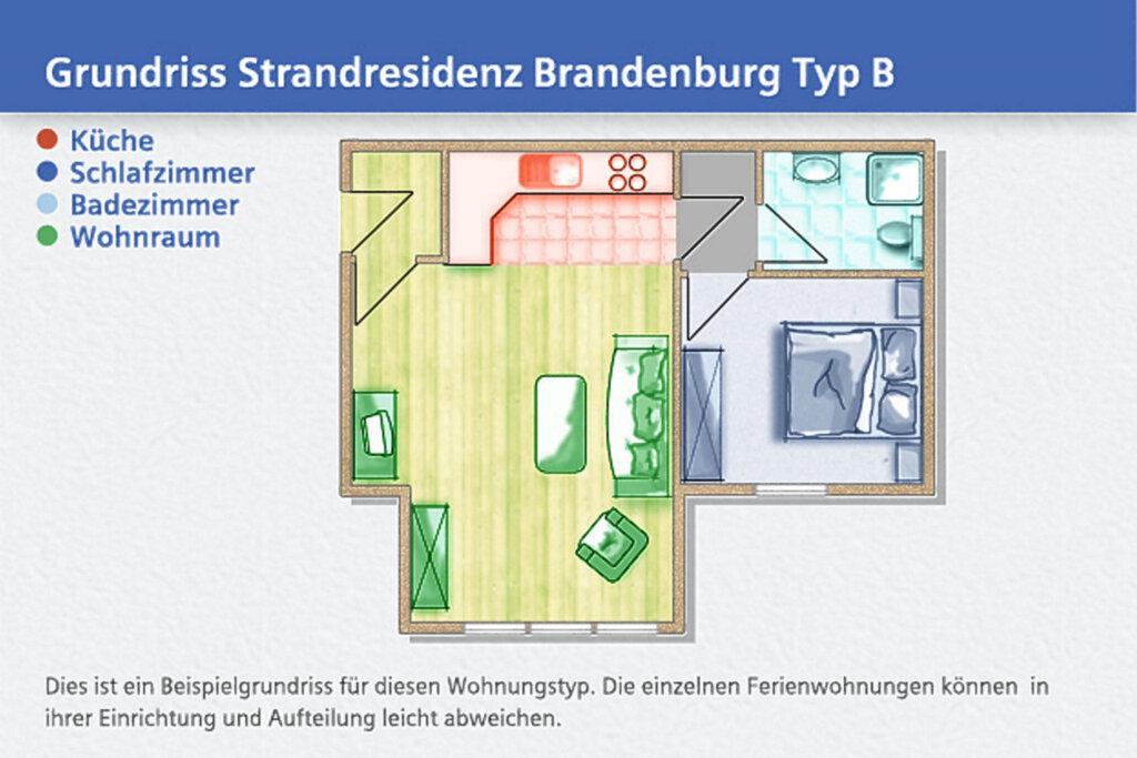 Strandresidenz Brandenburg, B 31: 42 m�, 2-Raum, 3
