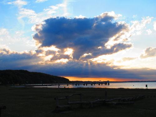Sonnenuntergang am Hafen von Langballig