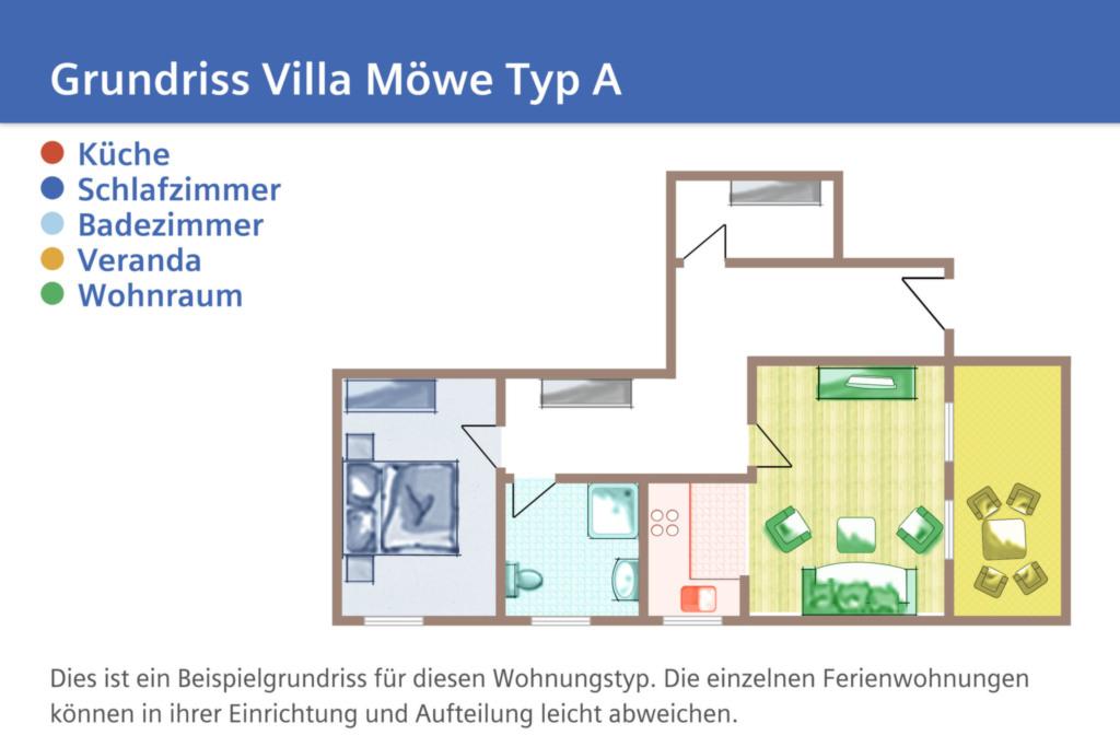 Villa M�we, A 01: 50 m�, 2-Raum, 4 Pers., Veranda
