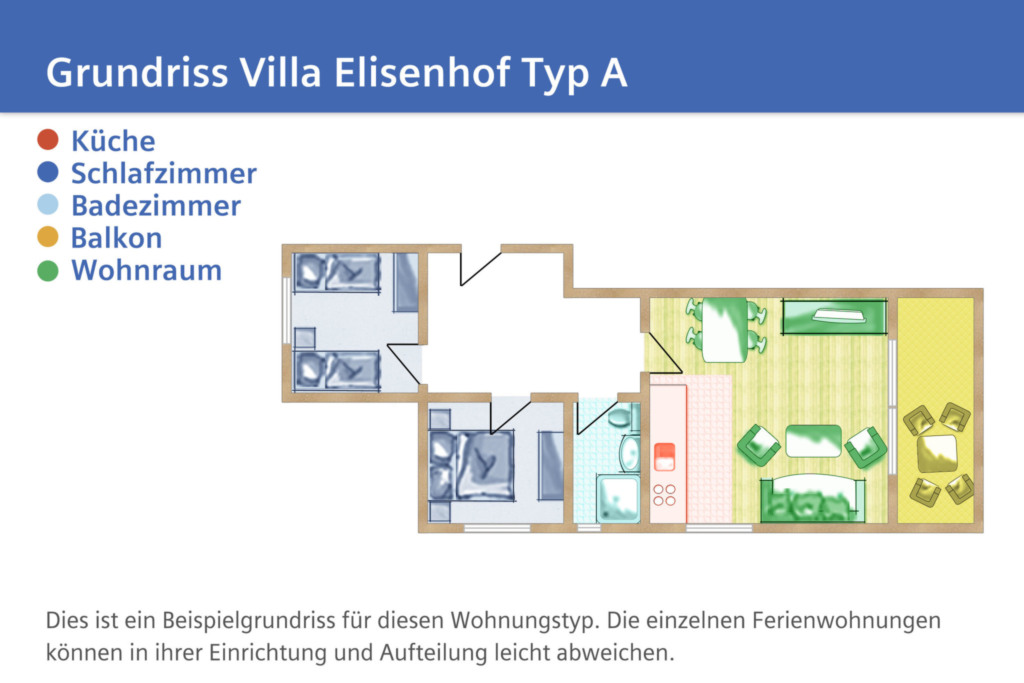 Villa Elisenhof, A 02: 67m², 3-Raum, 6 Pers., Bal