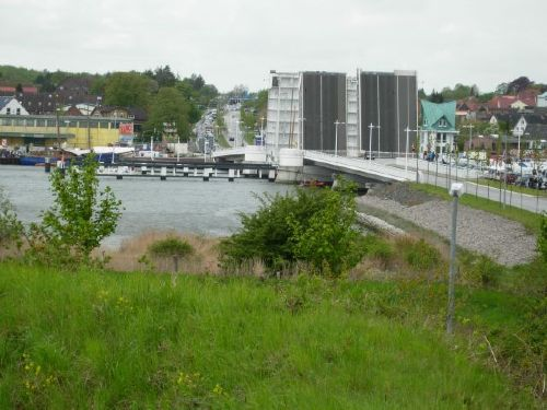Blick auf die Klappbrücke Kappeln