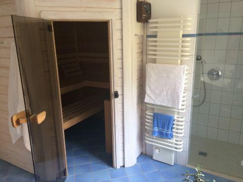 Bad mit Sauna (Badewanne auch vorhanden)