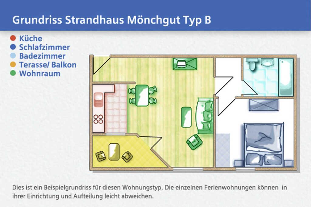 Strandhaus Mönchgut, B 21: 58 m², 2-Raum, 4 Pers.,