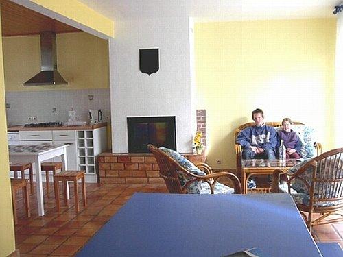 Wohnen mit Kamin und offener Küche