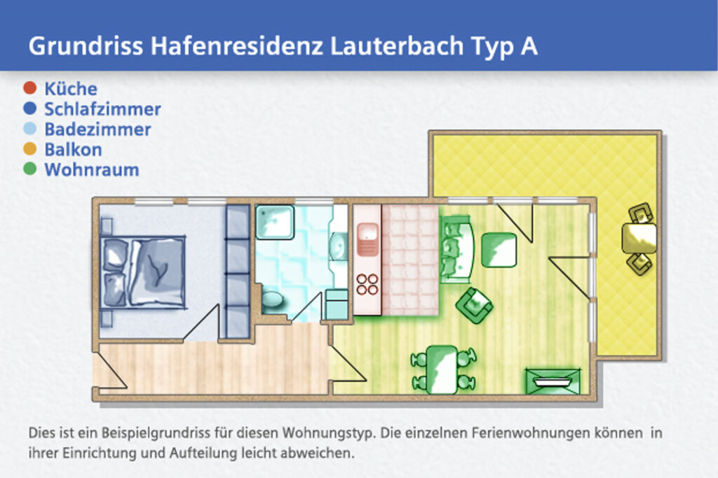 Hafenresidenz, A 2-2: 62m², 2-Raum, 2 Pers., Balko