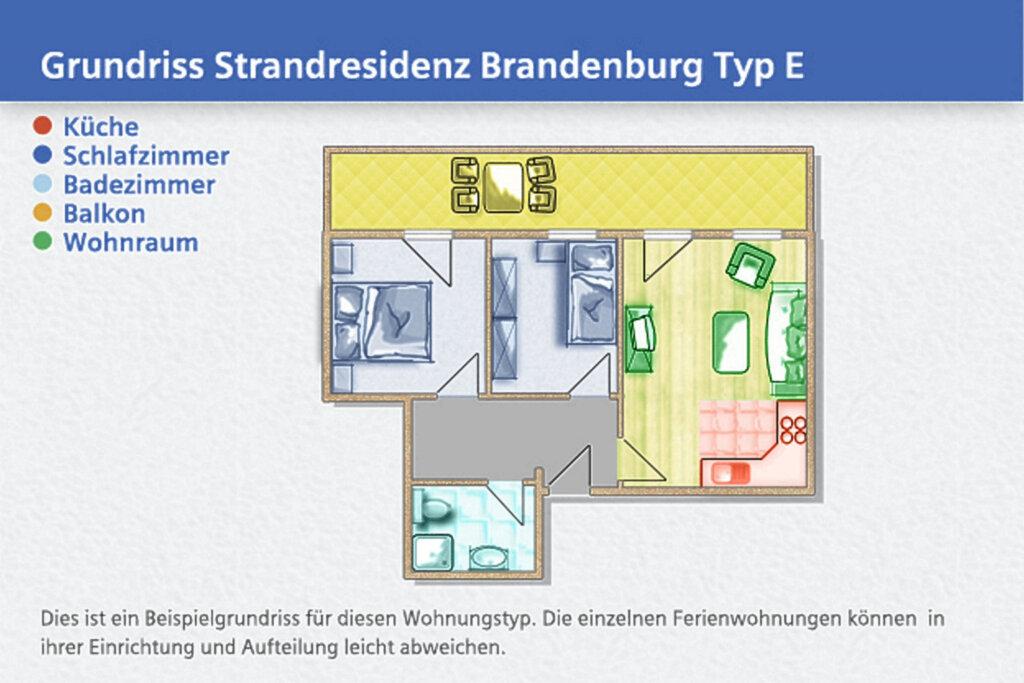 Strandresidenz Brandenburg, E 36: 60 m², 3-Raum, 4