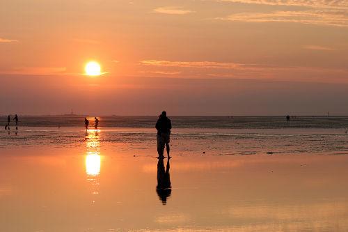 Wattwanderung im Sonnenuntergang