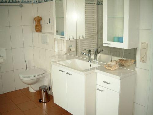 Duschbad mit Waschtisch und Toilette