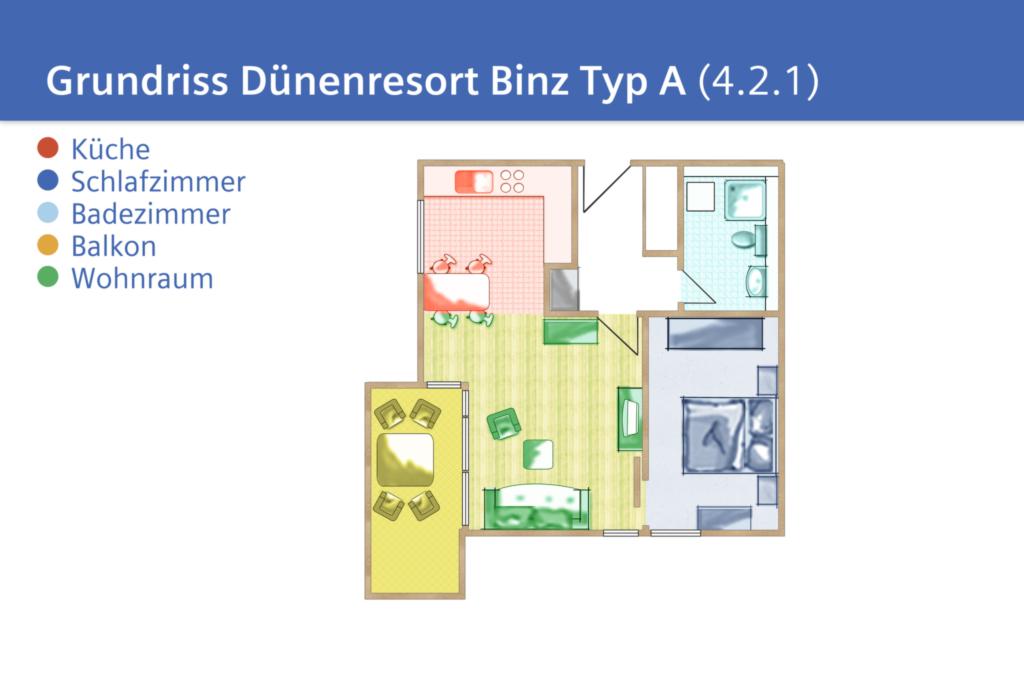 Dünenresort Binz, A 4.2.1: 64m², 2-Raum, 2 Pers +