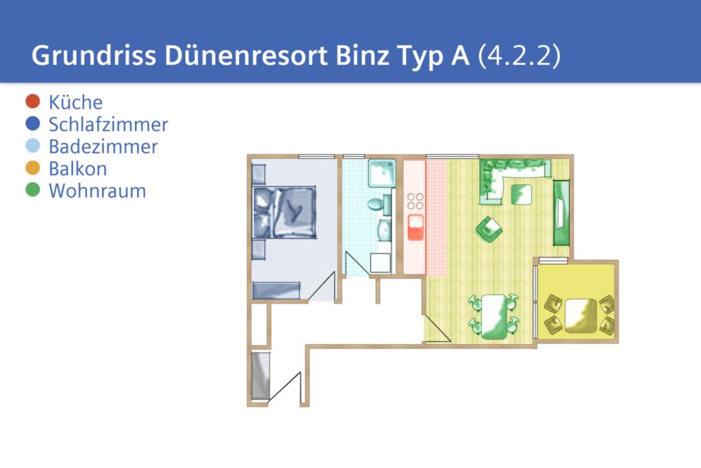 Dünenresort Binz, A 4.2.2: 57m², 2-Raum, 2 Pers +