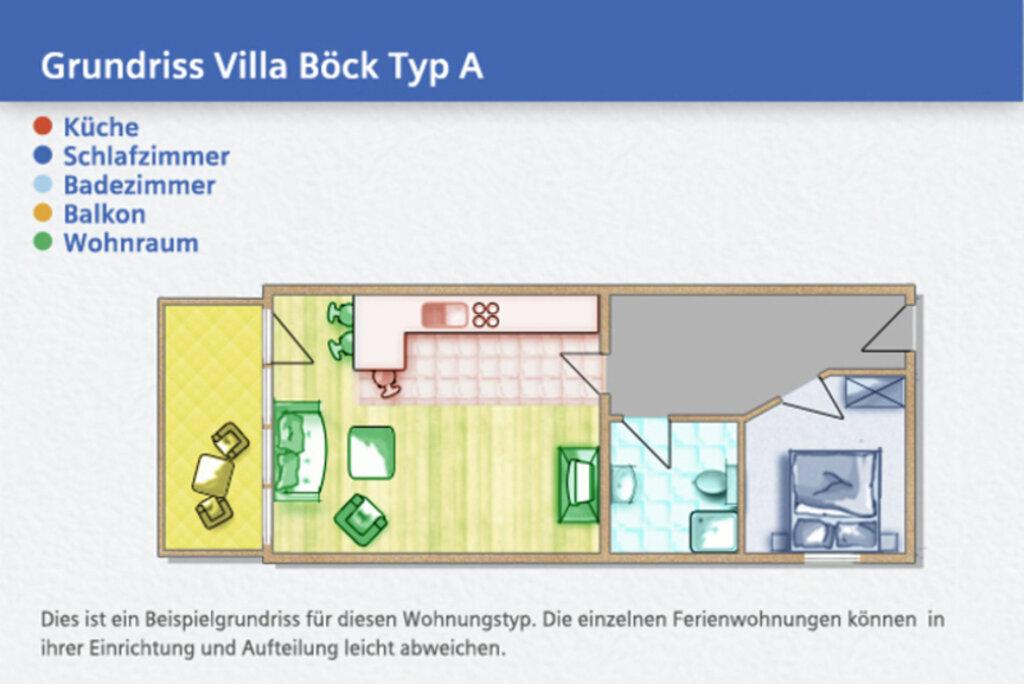 Strandvilla Böck, A 13: 50 m², 2-Raum, 3 Pers., Ba