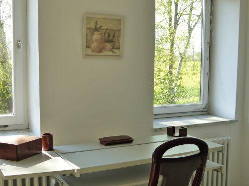 Schreibtisch-Blick auf Birken und Felder