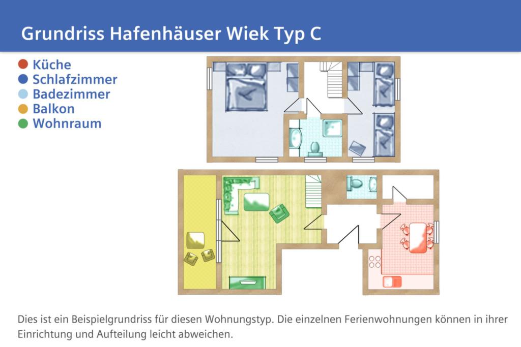 Hafenhäuser Wiek, C 10: 74m²; 3-Raum; 4 Pers; Bal